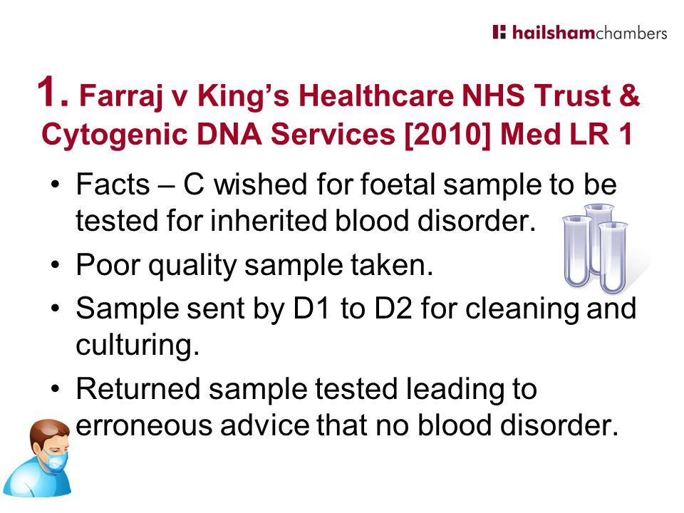 1. Farraj v King's Healthcare NHS Trust & Cytogenic DNA Services [2010] Med LR 1